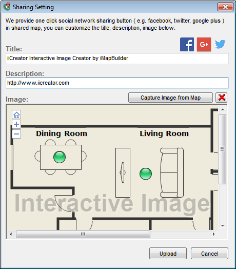 Setting dialog for social network button